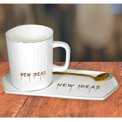 Кружка New ideas с фарфоровой подставкой (белая)